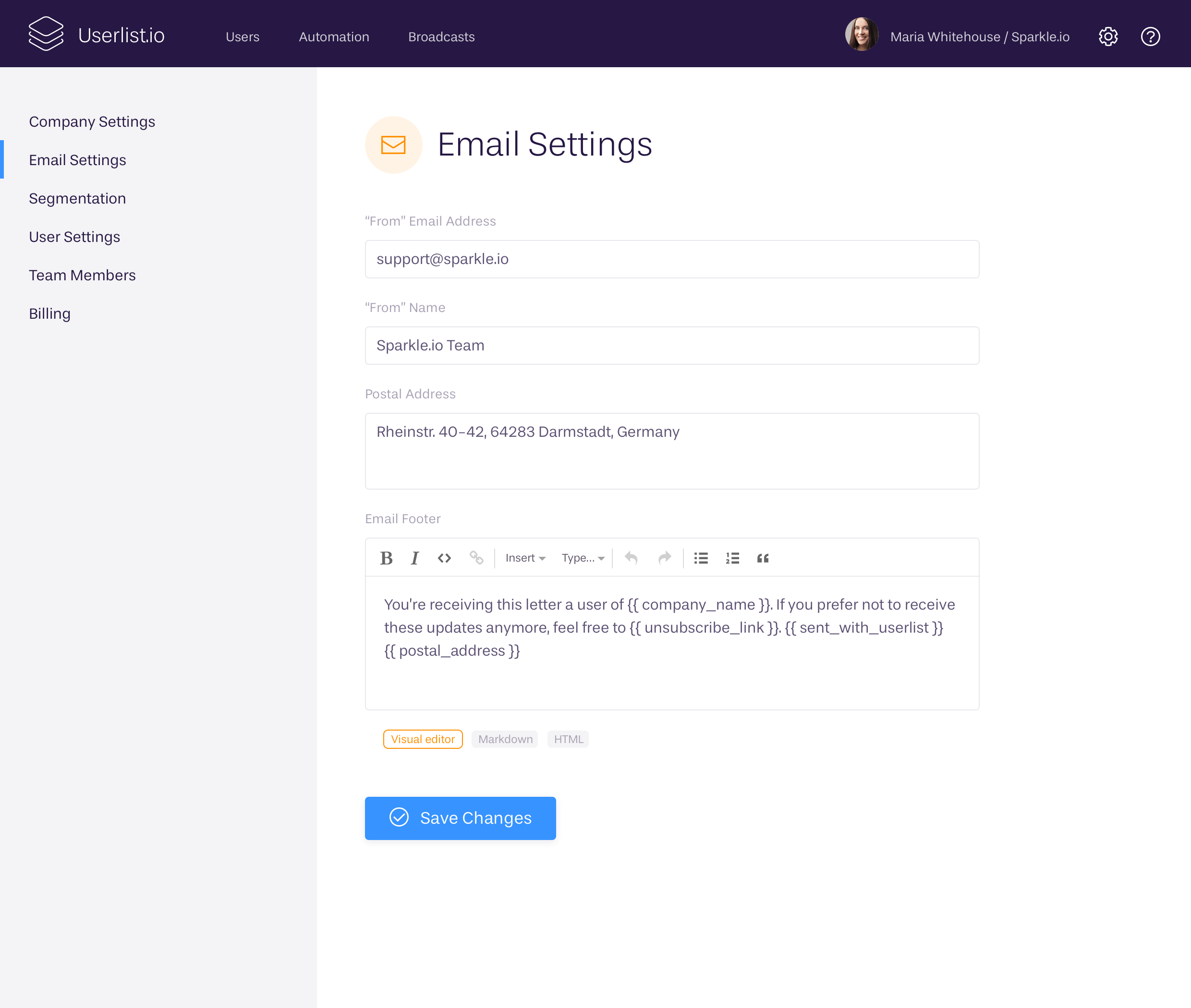 Email settings at Userlist.io
